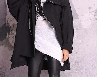 Black Coat, Woman coat, Extravagant coat, quilted cotton jacket, warm coat, black blazer, hoodie, autumn coat, winter coat, UM050QC
