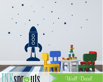Rocket and Stars Decal, Stars, Space, Rocket, To the moon and back, Large Rocket Decal, Modern Nursery, Nursery decals, Baby Decals,