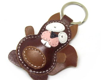 Funny Keychain Gift Idea Little Brown Squirrel - Leather Squirrel Accessories  - FREE Shipping Worldwide - Leather Bag Charm