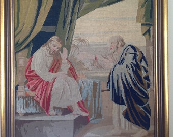 Vintage cross stitch, religious cross stitch, vintage religious art,