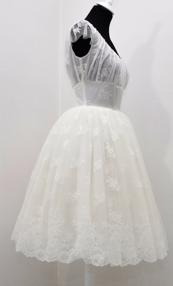1950er Jahre Elfenbein Hochzeit Spitzenkleid kurze 50er Jahre