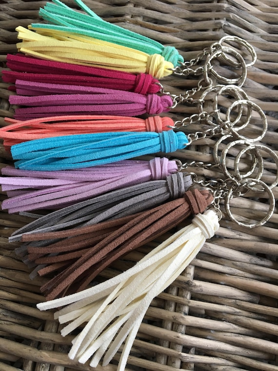 "Tassel Keychain, Bridesmaid Gift, Wedding Party Gift, Graduation Gift, Keychain with Tassel, Key Chain - 3.5"" Mini Tassel on Keyring (ST118)"
