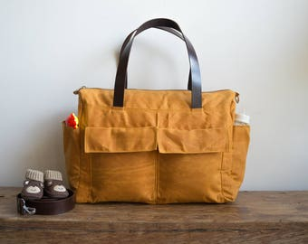 Waxed canvas bag, 11 pocket diaper bag, Waxed canvas diaper bag, Waxed canvas tote, Canvas tote bag, Leather canvas bag, Burnt yellow