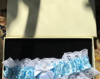 Boxed bridal garter blue and white satin burlesque vintage 70s