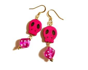 Hot Pink Rockabilly Earrings, Dice Earrings, Sugar Skull, Day of the Dead Jewelry, Dia de los Muertos, Dangle, Rockabilly Fashion Accessory