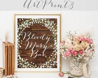 Bloody Mary Bar Sign Printable, Rustic Wedding Sign Printable, Barn Wood Wedding Sign Printable, Bloody Mary Wedding Printable Party Decor