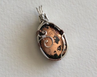 Michigan Copper Sterling Silver wire wrapped pendant