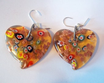 Huge, Colorful Millefiori Glass Lampwork Heart Earrings