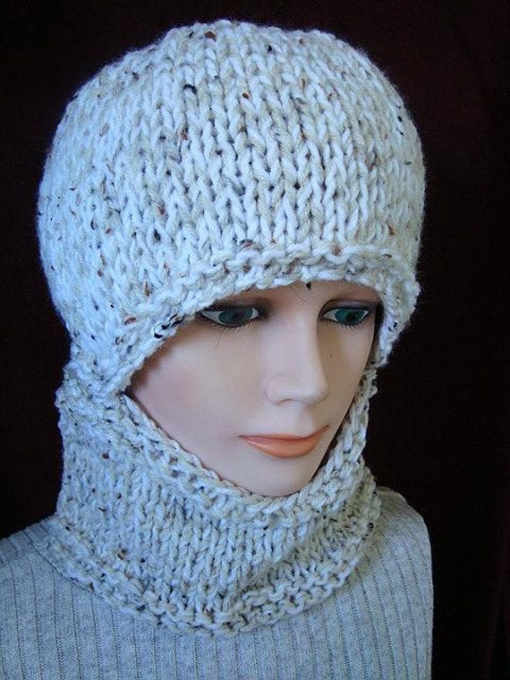 KNITTING PATTERN - hat, Easy Balaclava - or hat and cowl - Flat Knit ...