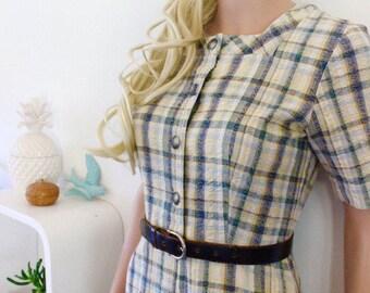 Genuine vintage dress 1970's cotton dress check tartan shirt dress button up
