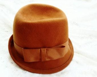 Steampunk fedora, Orange hat, wool felt hat, felted cap, boho fedora, festy hat, vintage fedora, vintage hat, felted cap