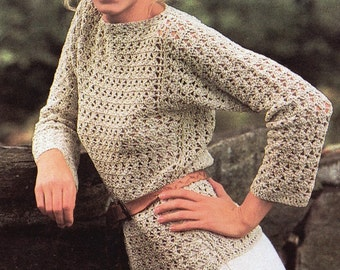 Crochet Womens Pullover Sweater PATTERN, Vintage Womens Crochet  Gray Top PATTERN, Digital Download