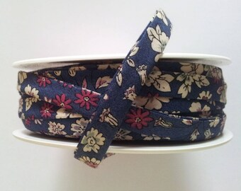 50 cm of floral liberty fabric - Navy - floral faces - 20 mm flat