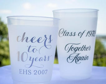 Custom Class Reunion Frosted Party Cups, Together Again Shatterproof Cups, High School Reunion Frost-Flex Cups, Reunion Favors