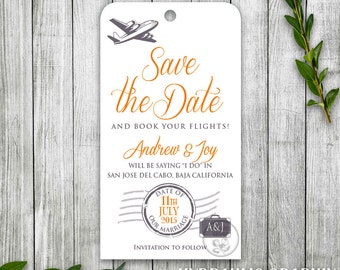 Travel Luggage Tag Save the Date Printable, Travel Theme Save the Date, Travel Wedding Theme, Destination Wedding Save the Date with Plane