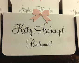 10 Wedding Place Cards, Pink Bow, Pearl