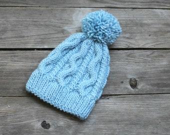 Knit hat pattern, knitting pattern, winter hat, cable hat pattern, light blue Wind hat pattern PDF 01-14