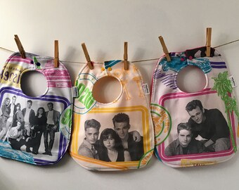 Beverly Hills 90210 Baby Gift - Upcycled Bib from Vintage Sheets - Oversize Baby Bib with Snaps - 80s Baby Gift - Baby Shower Gift