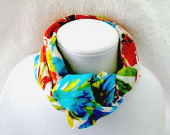 Infinity Tube Scarves, Soft Round Scarves, Women's Short Floral Circle Scarf, Colorful Tube Scarves, Short Tube Scarves, Gift for Her,
