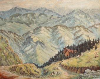 1975 Impressionist  landscape oil painting signed