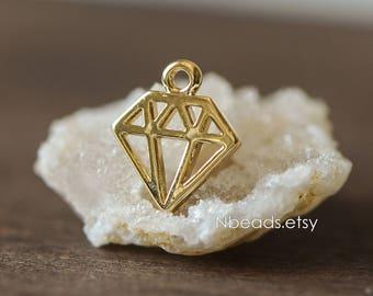 10pcs Gold plated Brass Diamond Shaped Charms 12mm (GB-083)