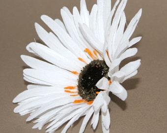 White Wild Gerbera Daisy - Artificial Flowers, Silk Flower Heads - PRE-ORDER