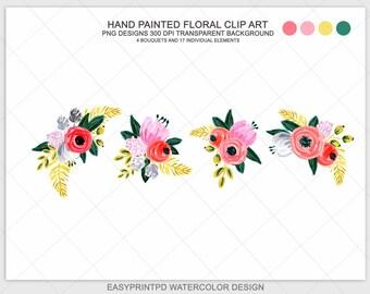 Hand Painted Flower Clip Art Watercolor Flowers Floral Digital
