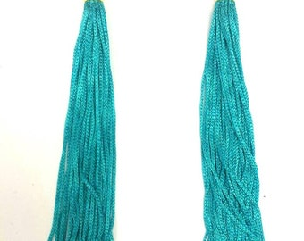 Bohochic  long statement  earrings with fringes and crystal beads - turquoise