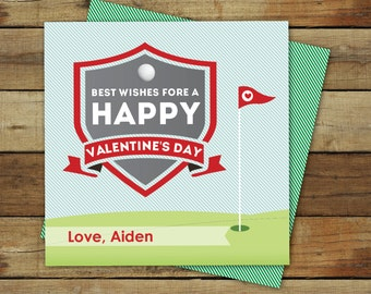 Golf Valentines - Printable Golf Valentine - classroom golf valentine's day card - instant download