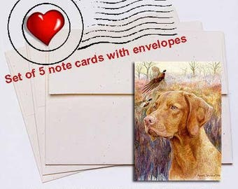 Vizsla Head Study IV Note Card Set