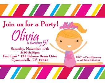 Gymnastic Invitation - Colorful Striped Girl Gymnast Personalized Birthday Party Invite - a Digital Printable File