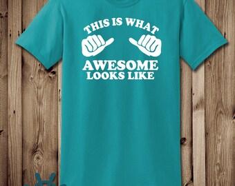 This is what awesome looks like, man's shirt, funny shirt, printed shirt, Boyfriend shirt, Husband Shirt, Father shirt