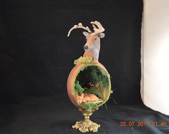 Deer, BucK, Fawn, Ostrich Egg Woodland