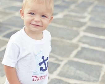 First Birthday Party Shirt - Dapper nautical blue and white seersucker stripes with navy and red accents - Free personalization