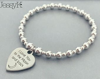 Sterling Silver Quote 'I Love You To The Moon & Back' Charm Bracelet