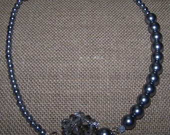 Grey glass pearl and crystal ball asymmetrical necklace