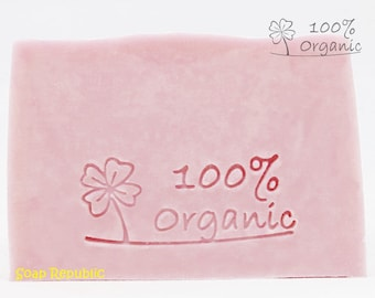 SoapRepublic '100% Organic' Acrylic Soap Stamp / Cookie Stamp / Clay Stamp