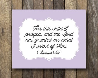 For This Child I Have Prayed - Instant Download Nursery Art - Purple Nursery Decor - I Prayed for This Child - Purple Nursery Art - 1 Samuel