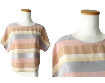 Pastel Striped Blouse 80s Cropped Blouse 1980s Boxy Muted Rainbow Stripes Size Medium M Pink Purple Beige Stranger Things Glow Cosplay