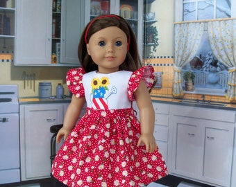 """Fits Like 18 Inch American Girl Doll Clothes/ Embroidered Dress  for 18"""" Dolls by Farmcookies"""