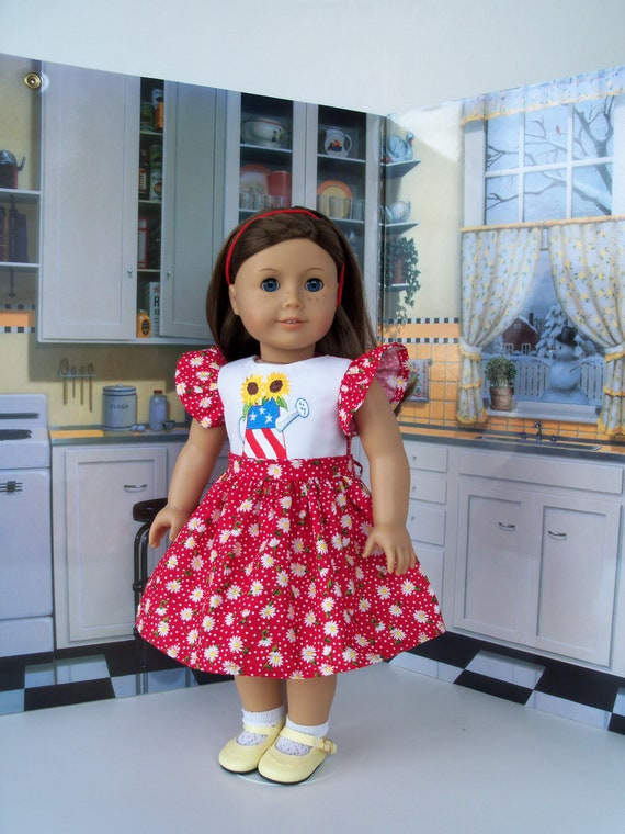 "SUMMER SALE!  Fits Like 18 Inch American Girl Doll Clothes/ Embroidered Dress  for 18"" Dolls by Farmcookies"