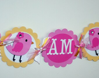 Pink Bird I am 1 Highchair Banner, Bird Banner, Bird ONE banner, Bird Birthday Banner, Little Birdie Banner, Pink Bird Decorations, 1st Bday