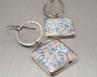 Enamel and Sterling Earrings - Lavender and Blue Floral Earrings - Handmade Enamel Earrings