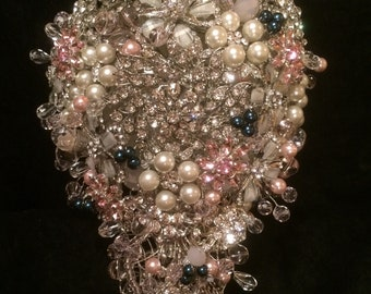 Brooch Bouquet Pink and Navy Blue