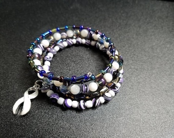 White Awareness Ribbon Wraparound Bracelet