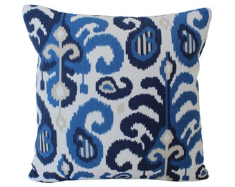 Blue and Tan Ikat Rasul Decorative Pillow Cover
