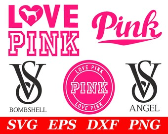 Love Pink SVG File Cricut Silhouette Iron On VS Dog Clipart Clip Art Printable Print Decal Party Decorations Supplies Cutting Cut Cutout