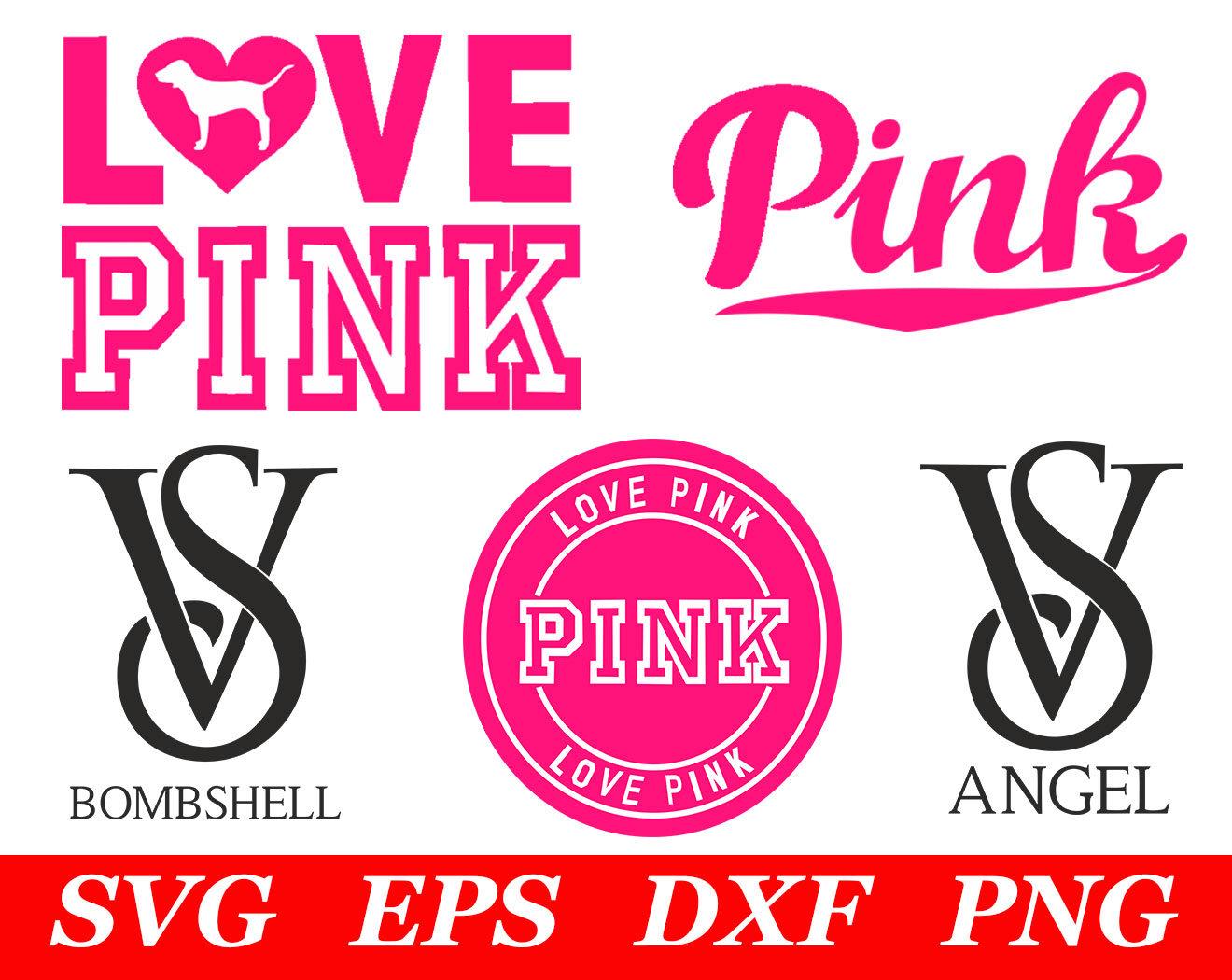 Love Pink SVG File Cricut Silhouette Iron On VS Dog Clipart