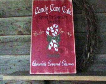 Christmas sign, candy canes,  Christmas cafe, wood sign, Holiday decoration, Holiday wall hanging