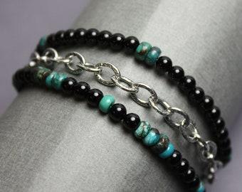 Black Onyx and Turquoise Bracelet, Turquoise Bracelet, Onyx Bracelet, Gemstone Bracelet, Artisan Jewelry, Beaded Bracelet, Black Bracelet